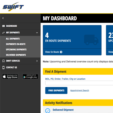 welcome to the swift freight tracker